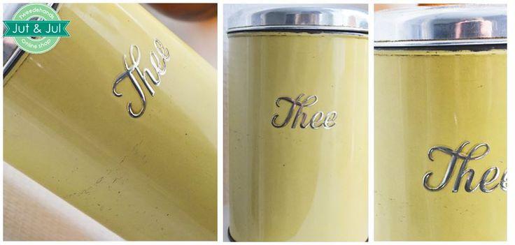 Jut & Jul - Collectie - Ouderwetse thee pot in mooie gele kleur, goed te combineren met vintage keukengerei