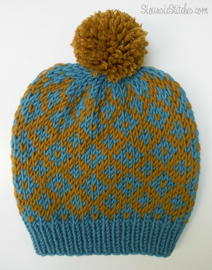 free knitting pattern: diamond slouch hat from SiouxsieStitches.com Knittin...