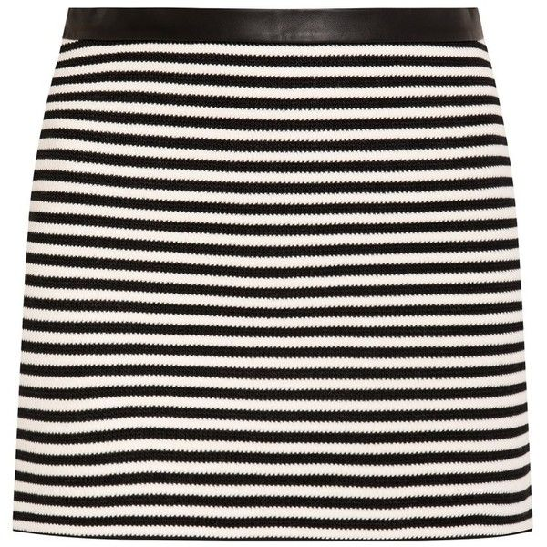 T By Alexander Wang Striped Mini Skirt ($133) ❤ liked on Polyvore featuring skirts, mini skirts, bottoms, black, short black mini skirt, t by alexander wang, nautical skirt, black miniskirt and short skirts