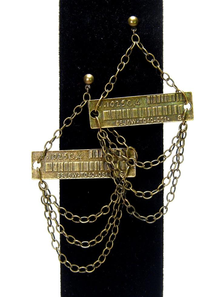 #Industrial chandelier #earrings, modern, barcode, shoulder dusters
