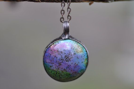 ceramic two sided necklace violet green pendant blue by zolanna