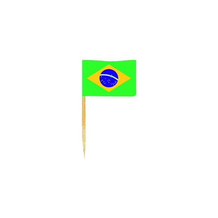 Sachet de 50 mini drapeaux du Brésil de 3 X 2,5 cm idéal pour décorer votre table.