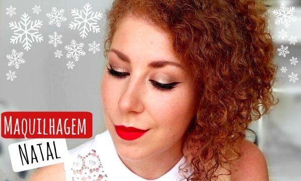 Easy Makeup for Christmas, gold glitters and red lips :-) Maquilhagem facil para o Natal, glitters dourados e labios vermelhos.