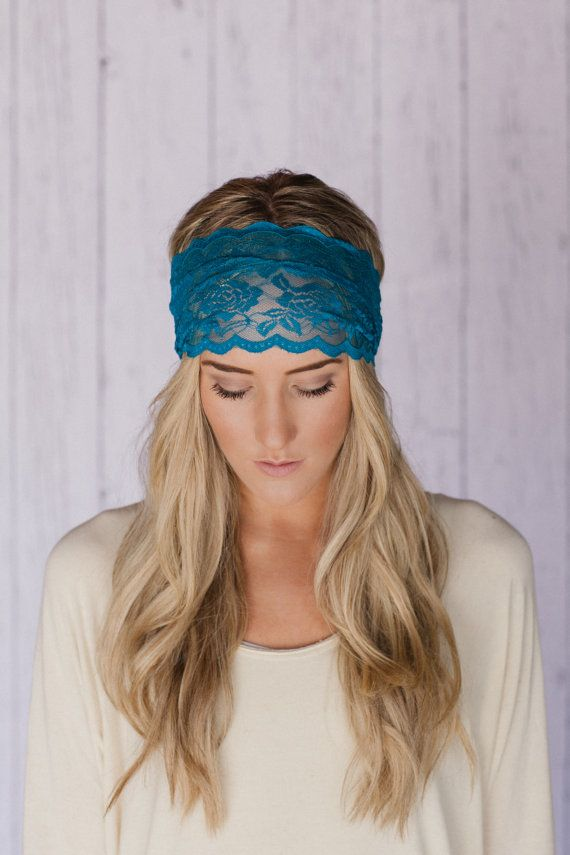 Stretchy Wide Lace Headband Teal Sheer Lace Headband with Tapered Cut and Scalloped Edge (HB-SHLCE-H) via Etsy