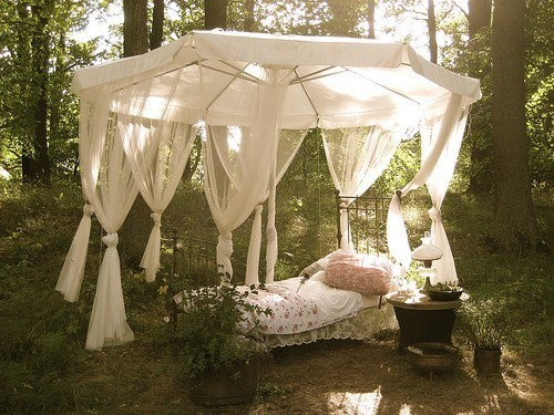 recreate the umbrella/canopy for a tea party using gauze. This will work with a large patio umbrella.