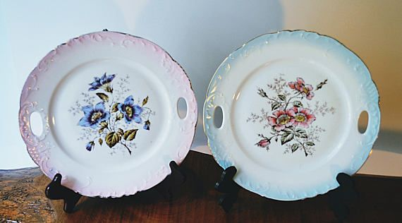 Two Vintage Floral Plates Plates With Handles Display Plates