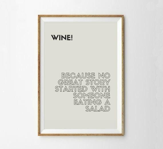 Poster A4 Wein für Küche oder als Geschenk! von PAP-SELIGKEITEN – Poster, Drucke, Postkarten auf DaWanda.com