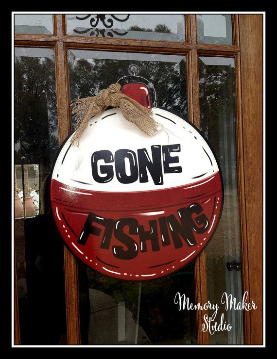 Gone Fishing Door Hanger made out of lightweight PVC. Perfect for your front door, river house, fishing camp or anywhere else!