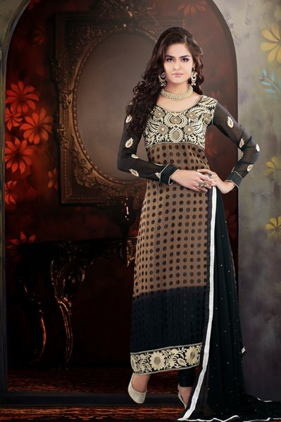 USD 56.29 Brown Brasso Pakistani Salwar Suit   36100