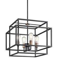"Kichler Taubert 18""W Black Steel Open-Cube 4-Light Pendant"