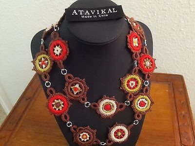 Divine chilean handmade cotton frivolite  knitted mandala's necklace by Atavikals on Etsy