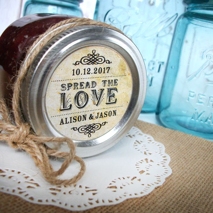 Vintage Spread the Love Custom Canning jar labels, personalized round stickers for wedding favors, jam jar favors, CanningCrafts.com  #diywedding #weddingideas
