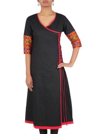 Buy Desiweaves Black cotton angrakha printed kurta Online, , LimeRoad