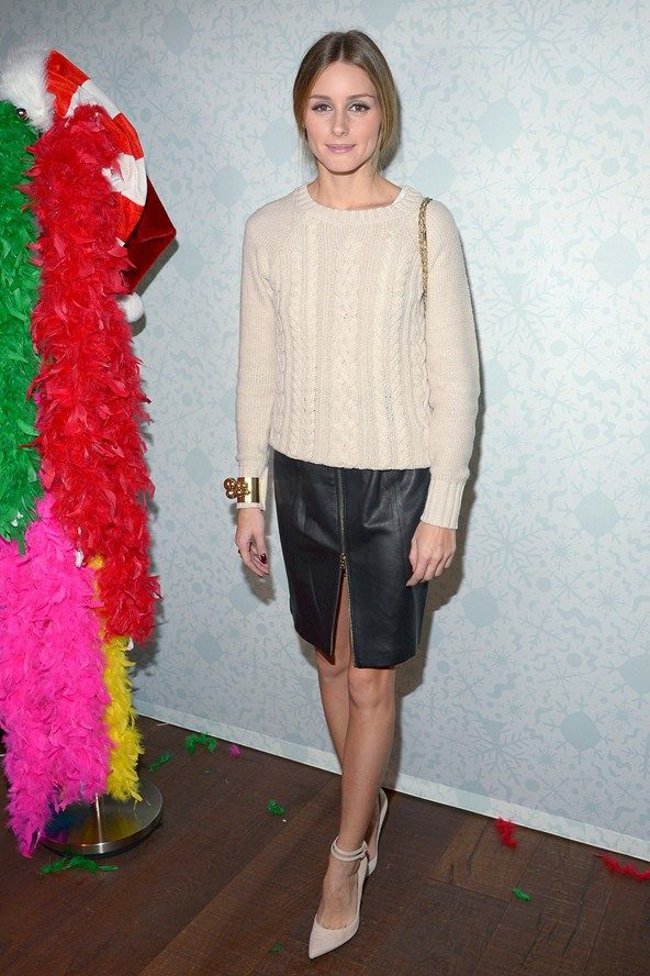olivia palermo in knitwear & leather