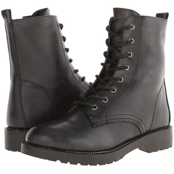 G by GUESS Silvia Women's Lace-up Boots, Black ($43) ❤ liked on Polyvore featuring shoes, boots, black, ankle boots, lace up combat boots, black military boots, military boots and black army boots
