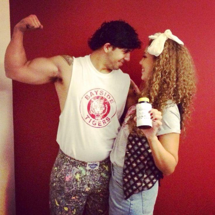 My friends' Halloween costumes, AC Slater and Jessie Spano (xpost from r/pics)