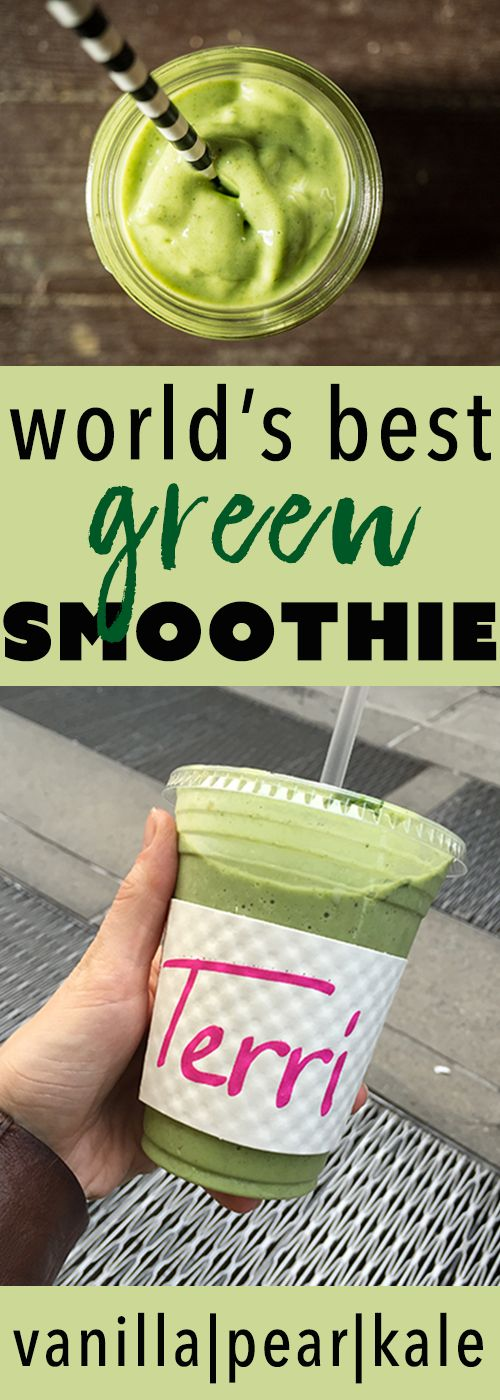 The World's Best Green Smoothie: vanilla, pear, kale! (Vegan Butter Substitute)
