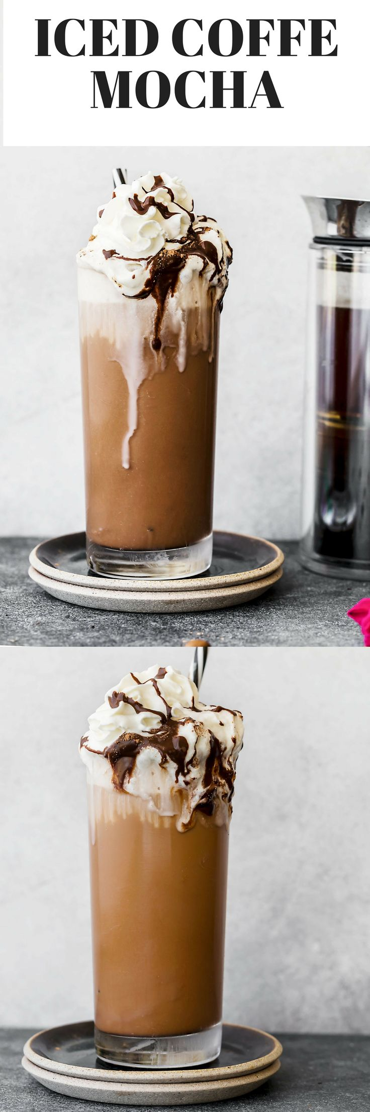 Learn how to make an iced coffee mocha recipe at home. Brewed coffee served with homemade chocolate syrup, ice, and whipped cream. #AD #ItsAmericanPress