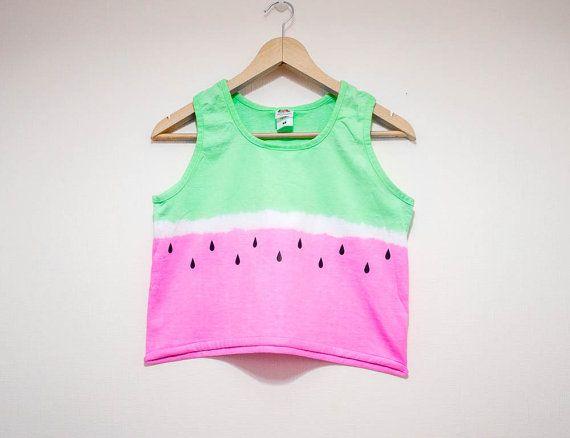 Tie Dye Watermelon Crop Top Sleeveless Festival T Shirt Summer Hippie Tumblr Hipster Pink + Green Small / Medium / Large / XL
