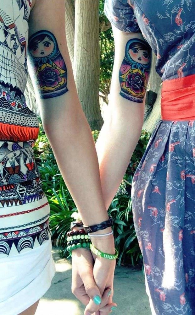russian nesting dolls, sister tattoos