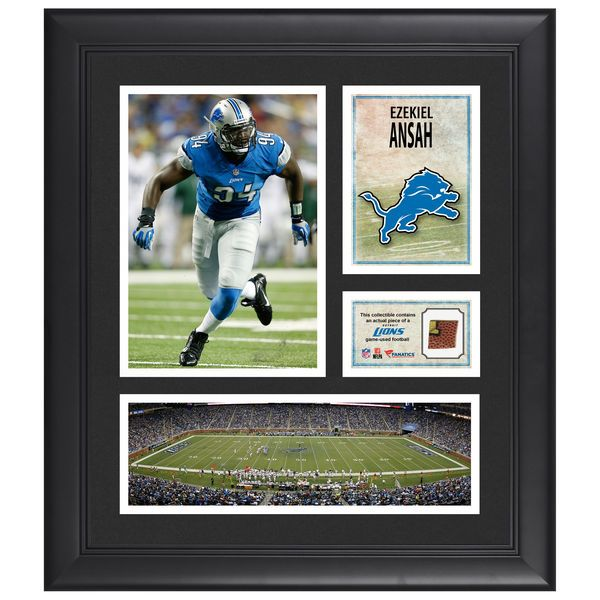"""Ezekiel Ansah Detroit Lions Fanatics Authentic Framed 15"""" x 17"""" Collage with Piece of Game-Used Football - $79.99"""