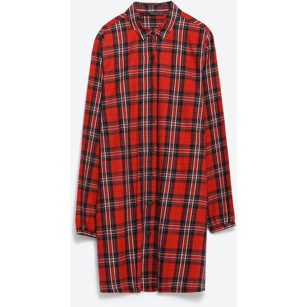Zara Check Dress ($40) ❤ liked on Polyvore featuring dresses, checkered dress, checked dress, red checkered dress and red dress