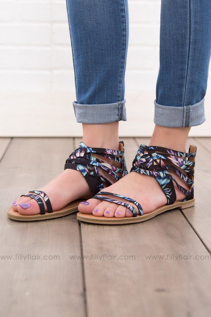 Footloose Multi Color Criss Cross Sandal In Black
