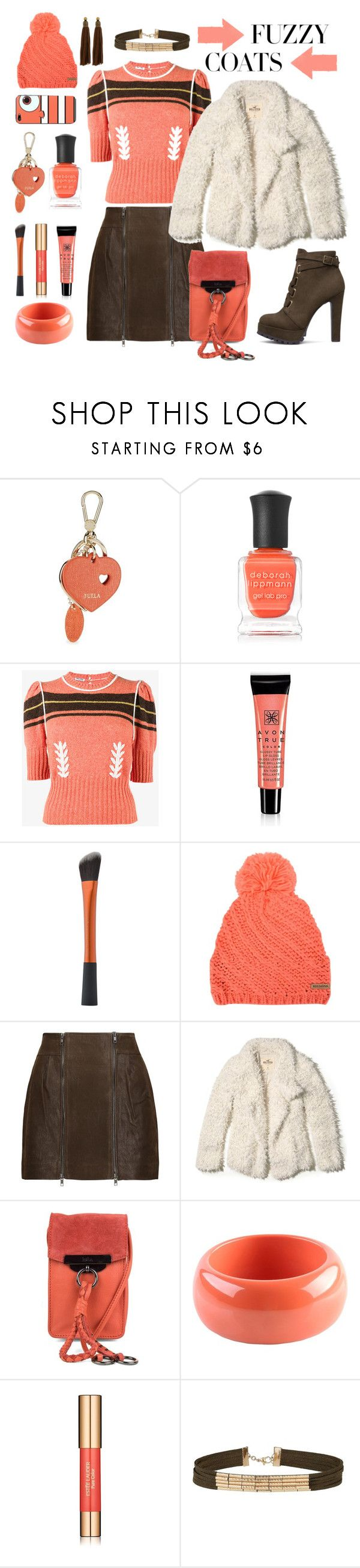 """Keep it Cozy:  Fuzzy Coats"" by tjtever ❤ liked on Polyvore featuring Furla, Deborah Lippmann, Miu Miu, Avon, Rossignol, Melissa Odabash, Hollister Co., Kooba, Dsquared2 and Estée Lauder"