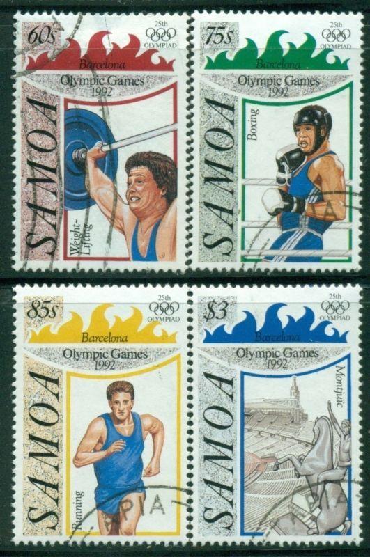 SAMOA Sc811-14 SG882-85 Used 1992 Summer Olympic Games Barcelona set of 4 SCV$9 - http://stamps.goshoppins.com/australian-stamps/samoa-sc811-14-sg882-85-used-1992-summer-olympic-games-barcelona-set-of-4-scv9/