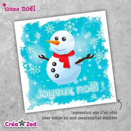 #Carte de #noël originale avec ses #flocons et son bonhomme de neige - enveloppe comprise