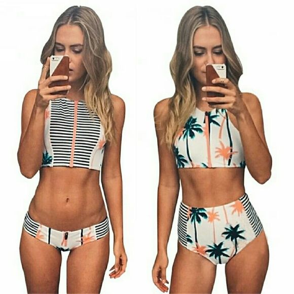 PALMS 2pc bikini set Fun and flirty 2 pc bikini set..   SET 1: medium low rise bottoms with zipper crop top, top had peach zipper with stripes   SET 2: high waist bottom with zipper crop top, too has peach zipper with palm tree pattern   THESE ARE SOLD SEPARATELY   DO NOT BUY THIS LISTING Swim Bikinis