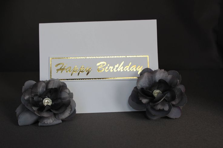 White Happy Birthday Card With Gold Foil by DazzlingCreationsCA on Etsy