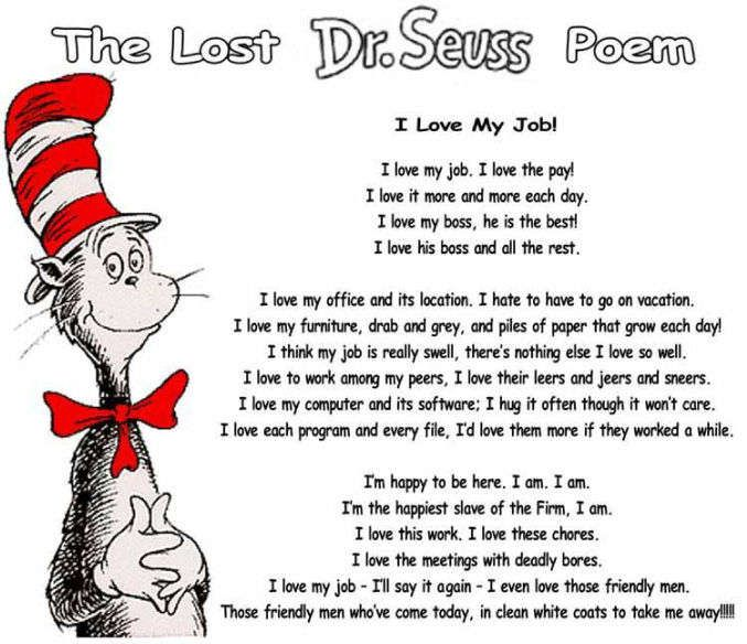 Famous Poems About Teamwork | ... love my job cat in the hat funny office poem and work comedy pic to