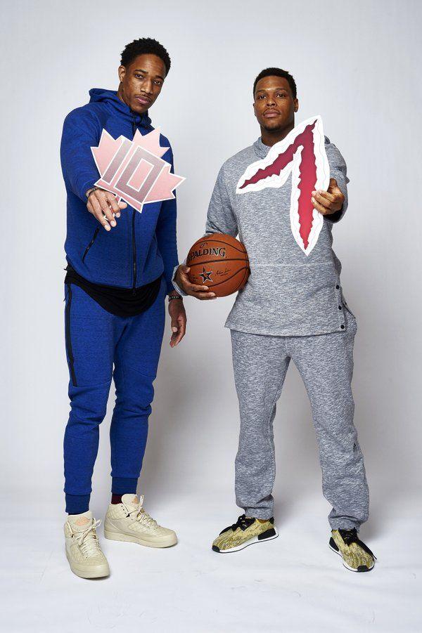 @TorontoRaptors All Stars DeMar DeRozan & Kyle Lowry flashing their #NBAAllStarTO Twitter Emojis #DeMarDeRozan #KyleLowry