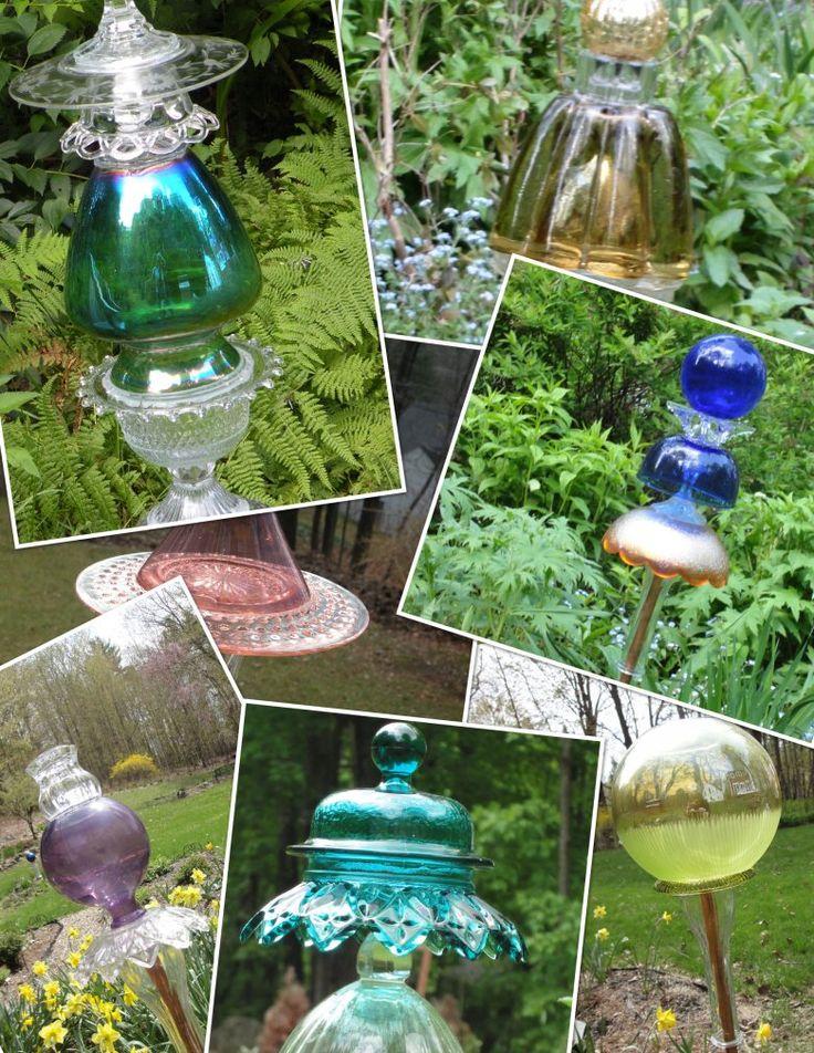 more old glass garden art