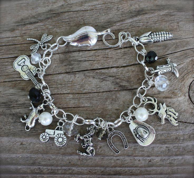 Cowgirl Country Girl Charm Bracelet Western Custom by Okrrah, $25.00