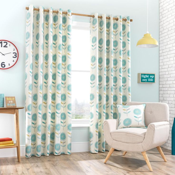Elba Teal Lined Eyelet Curtains | Dunelm