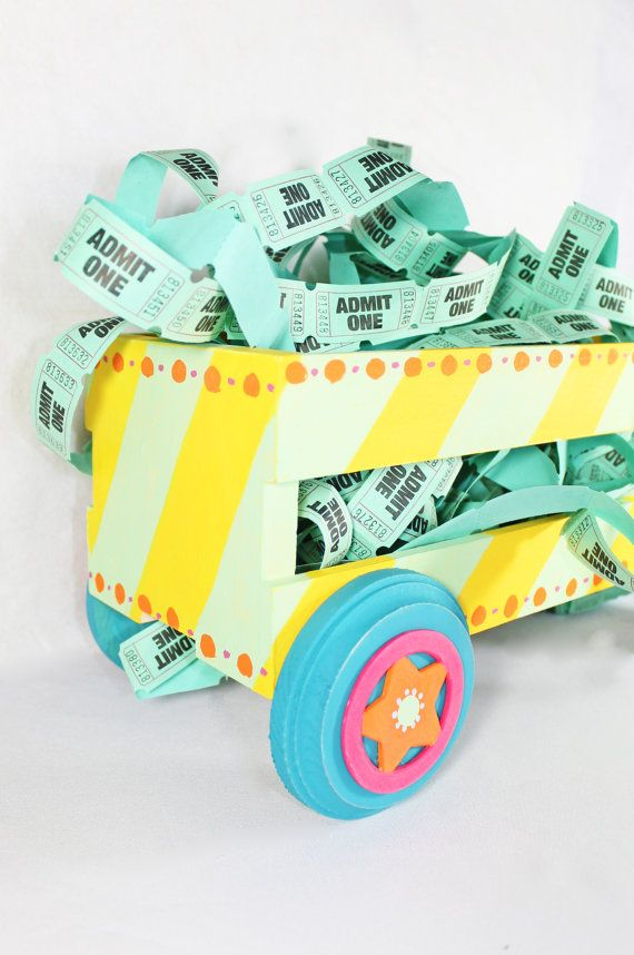 Circus Wagon in Yellow and Mint  Party decoration by PaintedParade, $27.00