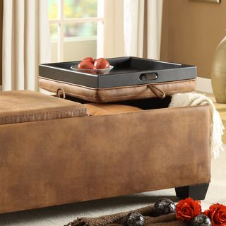Tribecca Home Oakford Brown Mottled Microfiber Cocktail Tray Top Storage Ottoman By Tribecca Home