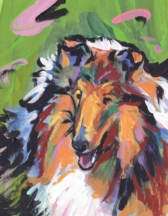 """Rough Collie portret giclee kunst hond popart heldere kleuren 13 x 19"""" LEA afdrukken"""