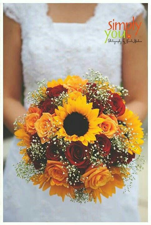 Yellow Sunflowers, Yellow Roses, Red Roses, White Gypsophila Bridal Bouquet
