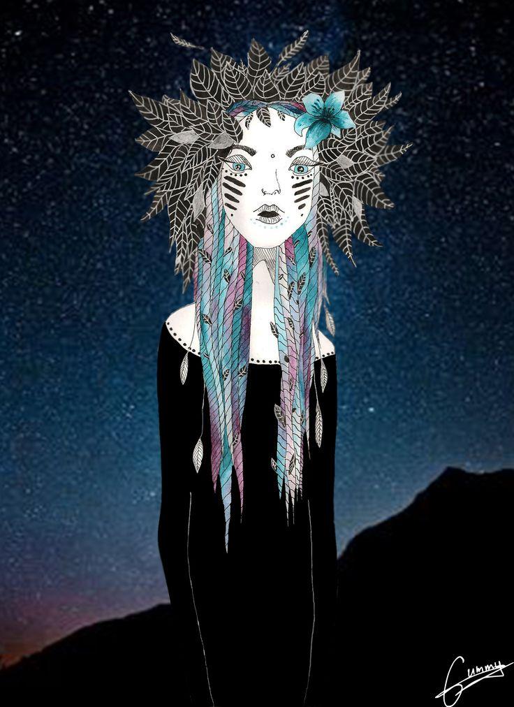 Galaxy girl by me. Ugne Gumenikovaite #gummy #galaxy #girl #illustrations #photoshoop #deep #draw #graphicdesign #graphic #design