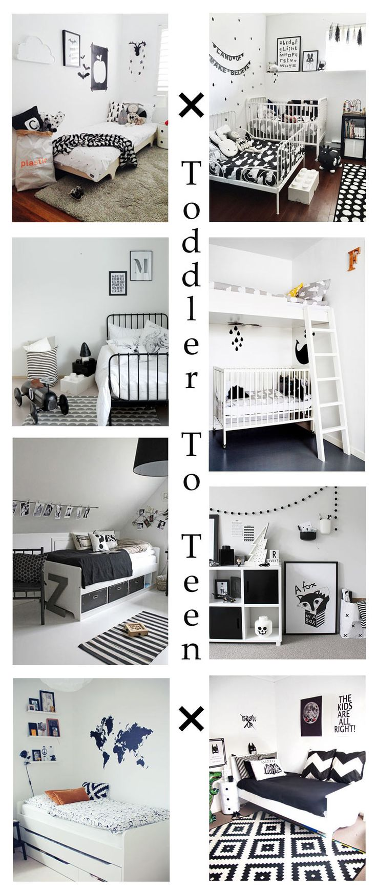 The Only Girl in the House blog compiles her favourite inpsiration for a monochrome kids bedroom and nursery. Black and white nursery, bedroom, boys room. interior design ideas for children and family