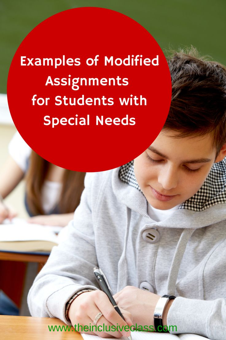 Examples of Modified Assignments for Students with Special Needs via www.theinclusiveclass.com.