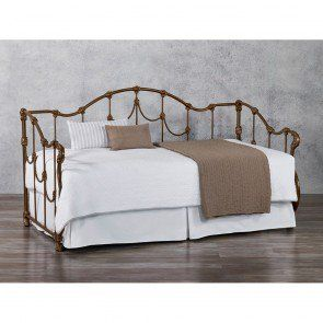 Free Curbside Delivery. Hand-forged in the U.S.A. The graceful and soothing lines makes the Ambiance daybed beautiful and inviting. Shown in Matte Black finish. Available in all finishes. Sleeper Beds include a wood and canvas slatted frame and an option to include the Wesley Allen High-Rise Trundle Unit.<br /><br /><b>Optional Trundle Info:</b><br />Features casters for self support. Sturdy construction. Fast and easy assembly. Wipe with damp cloth to clean.<br />Weight capacity: 300…
