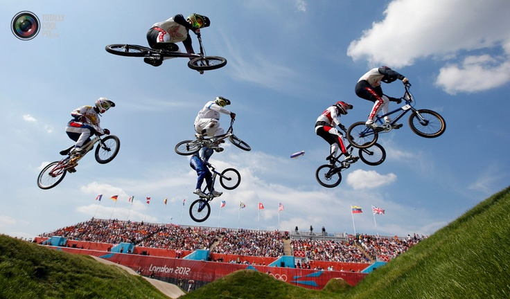 Day 13 - Athletes compete in their men's BMX quarter-final run during the London 2012 Olympic Games at the BMX Track in the Olympic Park. PAUL HANNA/REUTERS