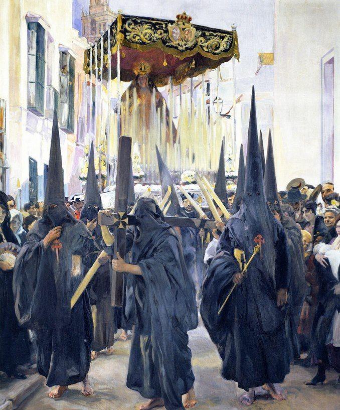 Joaquín Sorolla y Bastida, I penitenti, settimana Santa (1914) Sorolla, maestro della luce documenta una processione nella settimana Santa.