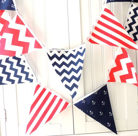Nautical bunting banner fabric garland flags navy blue for Nautical nursery fabric