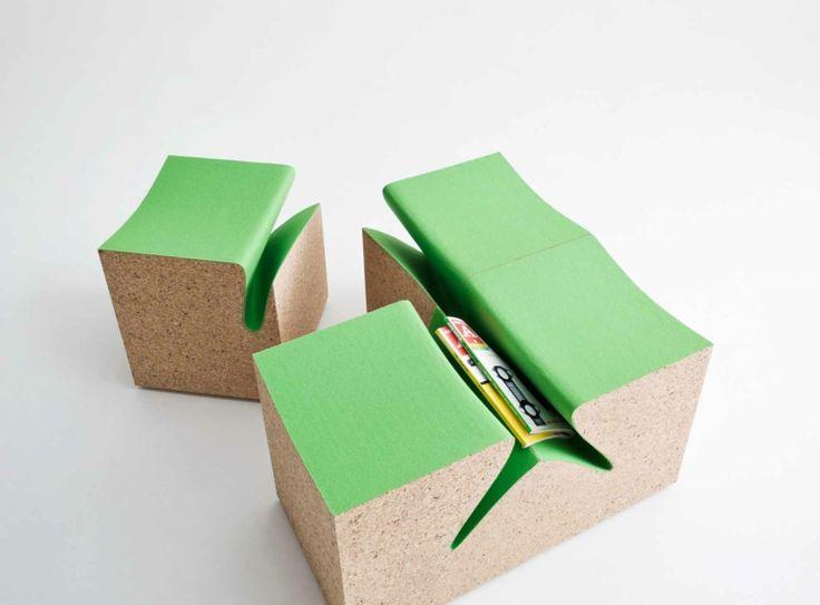 Italienische Möbel Designer Alessandro Isola Designermöbel Eroded Stools  Grün