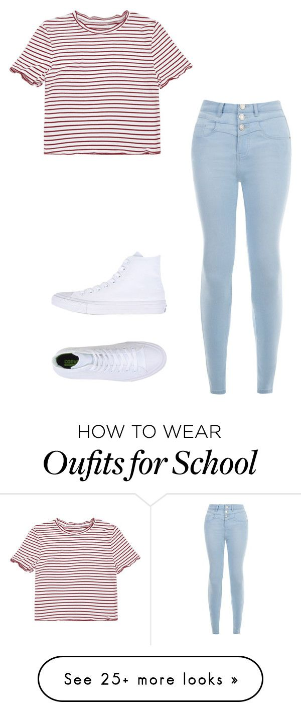 """""""Basic school outfit"""" by alaiza124 on Polyvore featuring New Look and Converse"""
